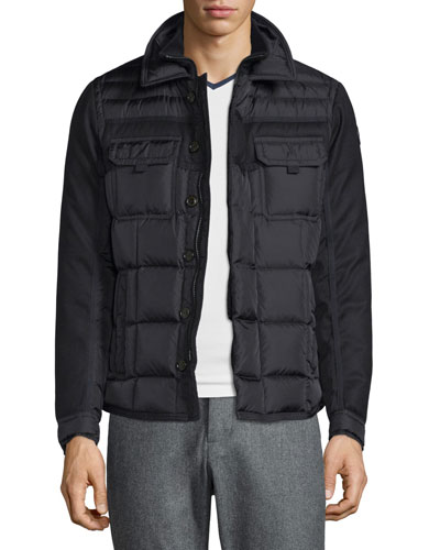 Blais Mixed-Media Down Shirt Jacket, Black