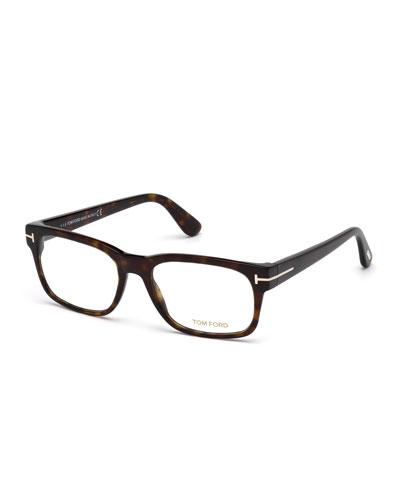 Square Acetate Eyeglasses, Dark Havana