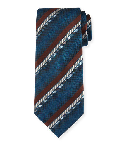 Ombre Striped Silk Tie, Brown
