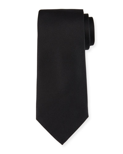 Micro-Diamond Textured Silk Tie, Black