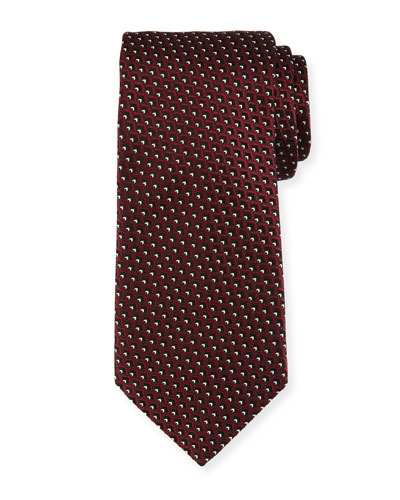 Diagonal Diamonds Silk Tie, Red