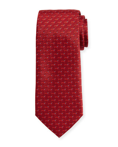 Woven Dog Silk Twill Tie