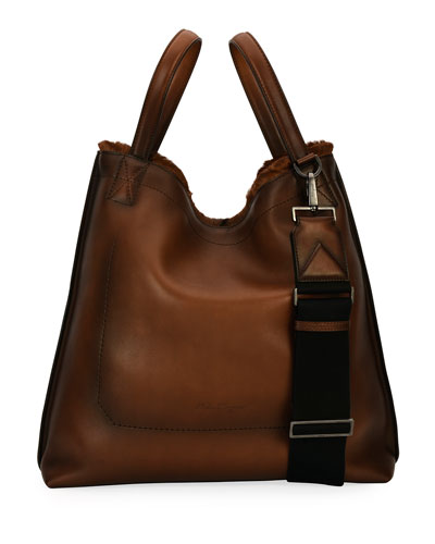 Salvatore Ferragamo Leathers FIRENZE GLOW RUNWAY MEN'S LEATHER TOTE BAG WITH GOAT HAIR TRIM, BROWN