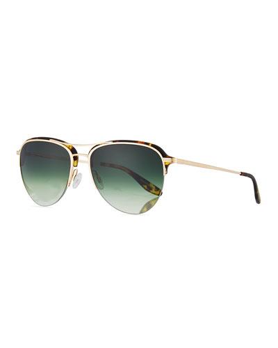 Airman Half-Rim Aviator Sunglasses, Matte Heroine Chic/Gold
