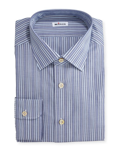 Alternating-Stripe Dress Shirt, Navy/Light Blue