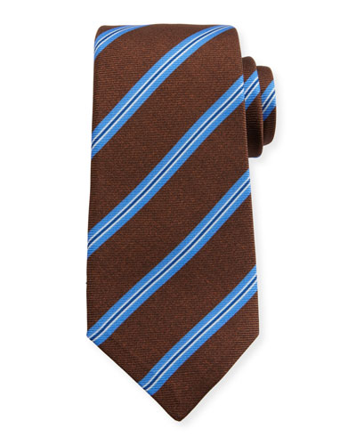 Wide Stripe Silk Tie, Brown/Blue