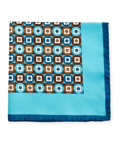 Geometric Printed Silk Pocket Square, Teal