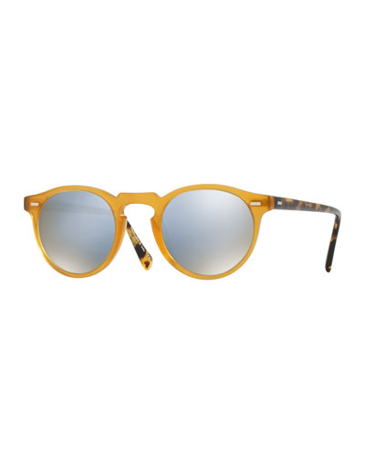 Gregory Peck 47 Limited Edition Mirrored Sunglasses, Amber/Blue