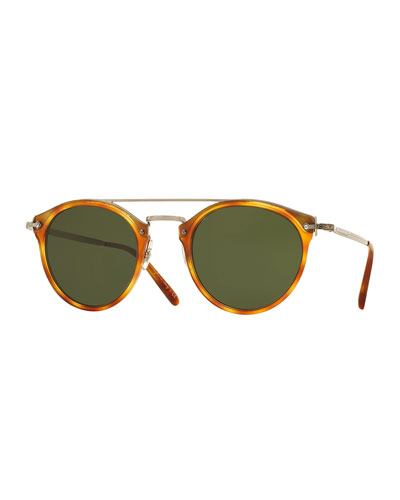 Remick Monochromatic Brow-Bar Sunglasses, Semi-Matte Light Brown/Green