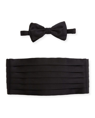 Satin Cummerbund & Bow Tie Set, Black