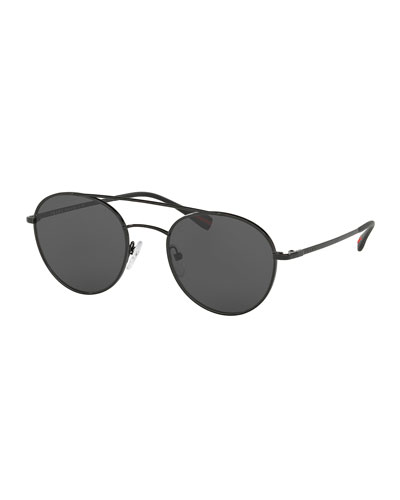 Linea Rossa Round Aviator Sunglasses, Black