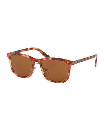 Redux Men's Square Acetate Sunglasses, Red Havana