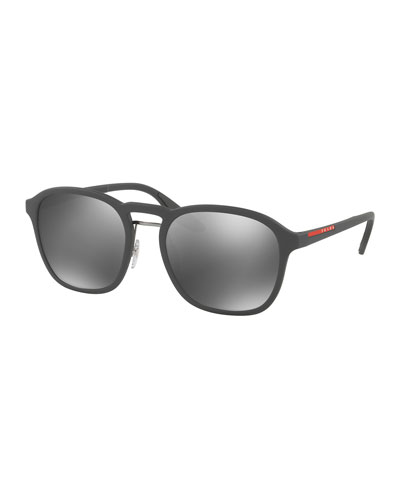 Linea Rossa Men's Square Mirrored Sunglasses, Gray
