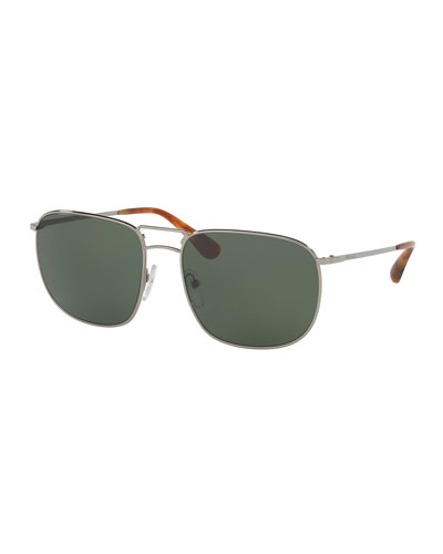 Men's Classic Metal Square Sunglasses, Gray