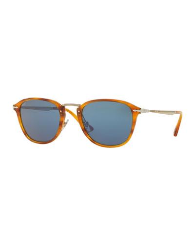 Calligrapher Edition PO3165S Acetate Sunglasses, Striped Brown