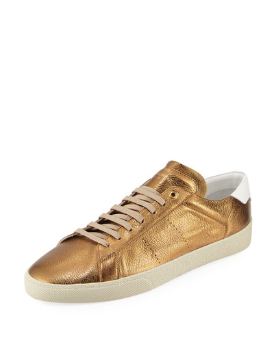 SL/06 Metallic Leather Low-Top Sneaker, Brown/White