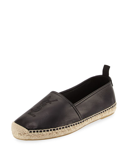 Men's Monogram Leather Espadrille, Black