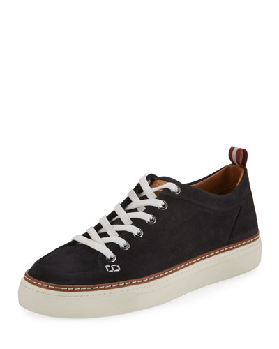 Hernando Suede Low-Top Sneaker, Blue