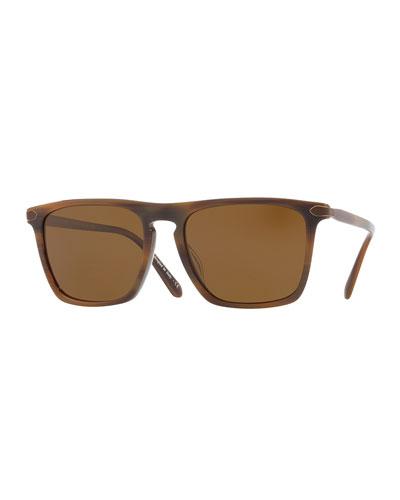 Rue de Sèvres 54 Square Acetate Polarized Sunglasses, Tobacco Bis/Bourbon