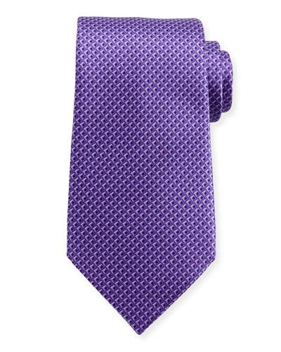 Tonal 3D Diamond Silk Tie, Purple