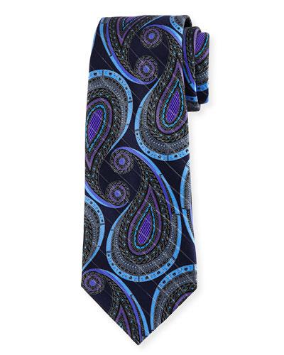 Paisley Metallic Jacquard Tie, Navy