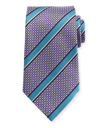 Basketweave Satin-Stripe Silk Tie, Lavender