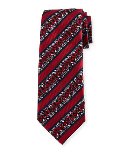 Pixelated Stripe Twill Tie, Red
