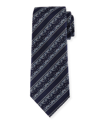 Pixelated Twill Striped Silk Tie