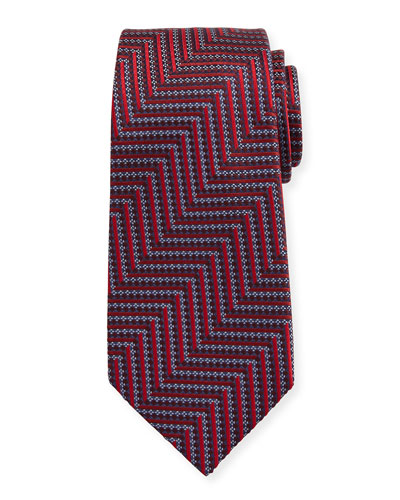 Geometric Herringbone Silk Tie, Red/Silver