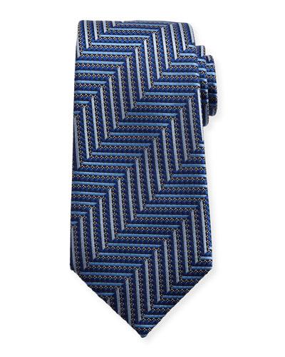 Geometric Herringbone Silk Tie, Blue/Silver