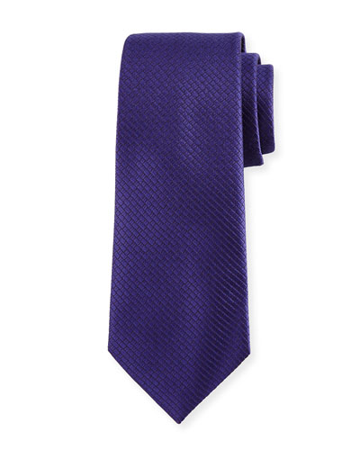 Textured Solid Silk Tie, Purple