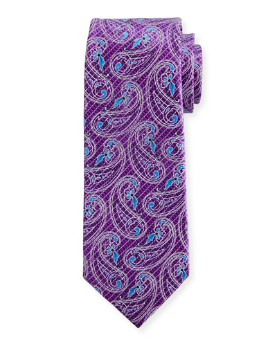 Etched Paisley Silk Tie, Purple