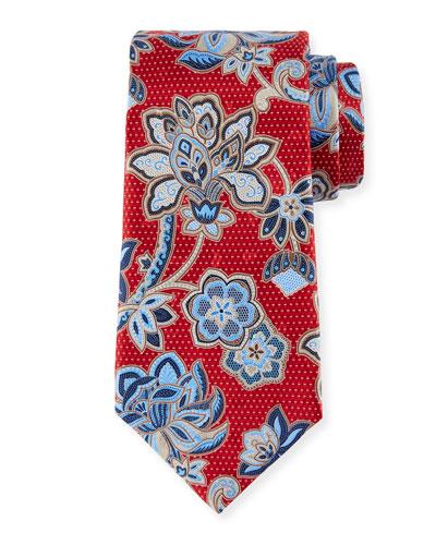 3D Paisley Floral Silk Tie