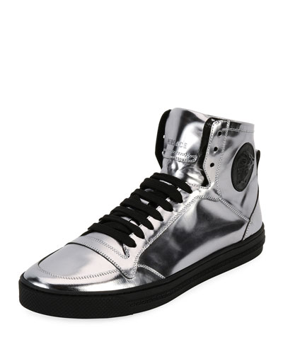 Men's Metallic Leather High-Top Sneakers, Silver