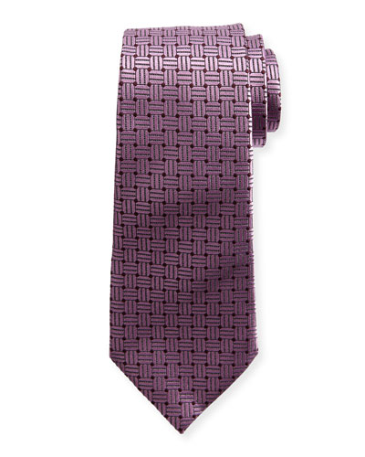 Braided Neat Silk Tie, Pink