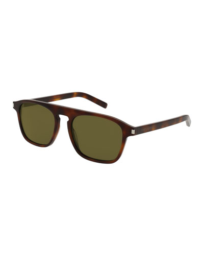 SL 158 Mirrored Acetate Sunglasses, Havana