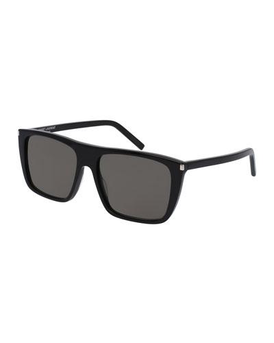 SL 156 Acetate Straight-Brow Sunglasses, Black