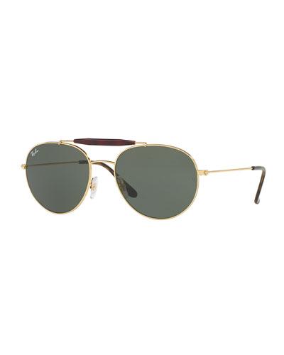 Men's RB3540 Highstreet Aviator Sunglasses, Gold/Green