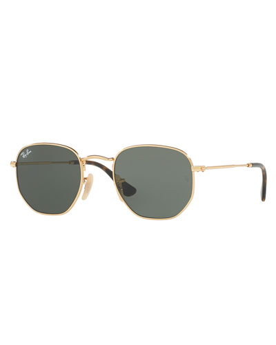 Men's Hexagonal Metal Sunglasses, Green/Gold