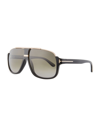 Elliot Universal-Fit Aviator Sunglasses, Shiny Black/Rose Golden