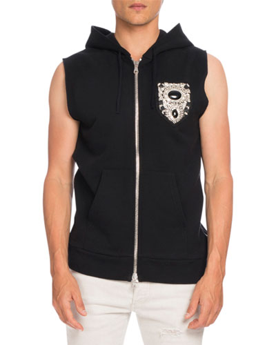 Embellished-Crest Sleeveless Zip-Up Hoodie Vest, Black