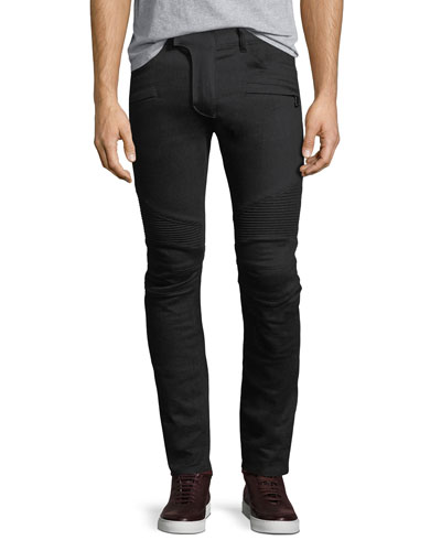 Skinny-Fit Saturated Clean Denim Biker Jeans