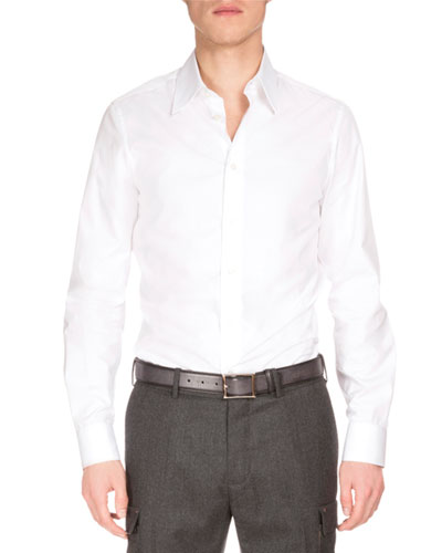 Basic Long-Sleeve Woven Sport Shirt, White