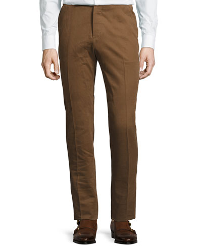 Leather-Pocket Cotton Slim-Straight Pants