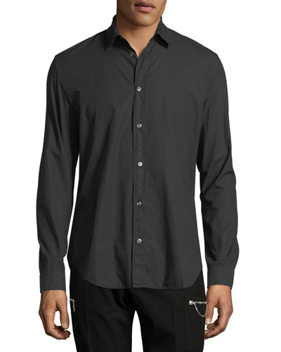 Basic Long-Sleeve Woven Sport Shirt