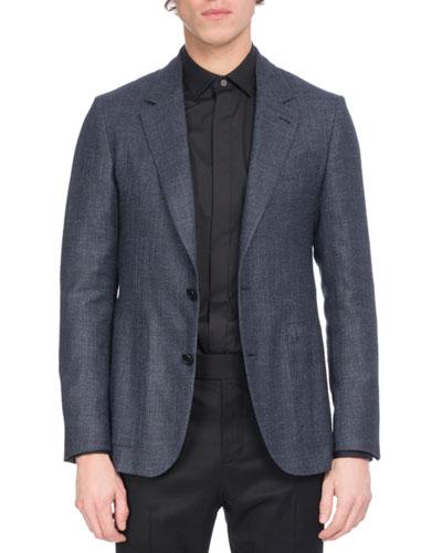 Wool-Silk-Linen Sport Coat, Navy