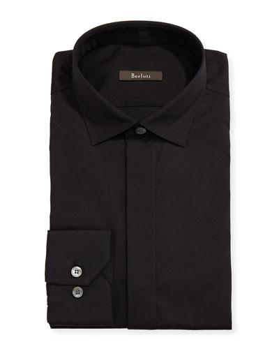 Stretch-Cotton Basic Shirt, Black