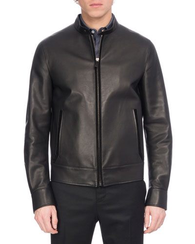 Leather Racer Jacket with Suede Trim, Black