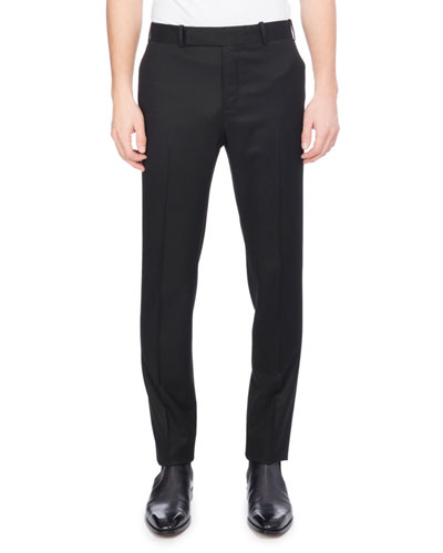 Flannel Wool Suit Pants, Black