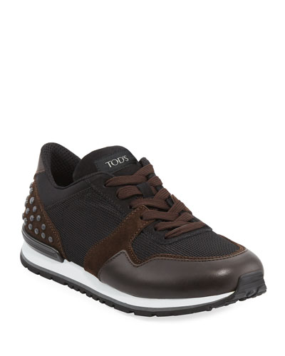 Men's Mesh & Leather Trainer Sneaker, Black/Brown